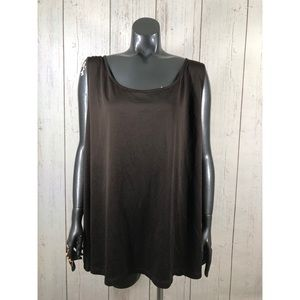 Maggie Barnes Plus Size 3X Brown Stretchy Tank Top